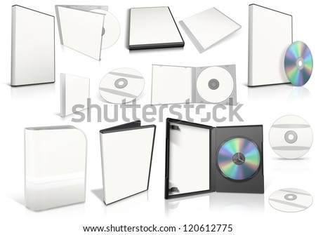 White multimedia disks and boxes on white background. Ready to be personalized by you.