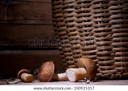 White mushrooms with a basket