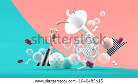 White musical instruments amid colorful balls on blue and pink background.-3d render.