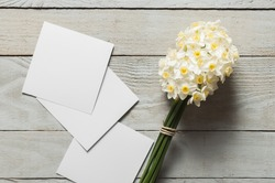 White narcissus flowers and blank paper pieces on wooden background