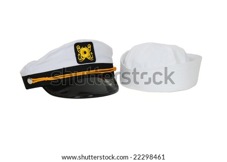 White Nautical hat with black brim and yellow braids and sailor cap