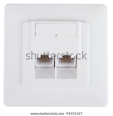 White network socket over a white background