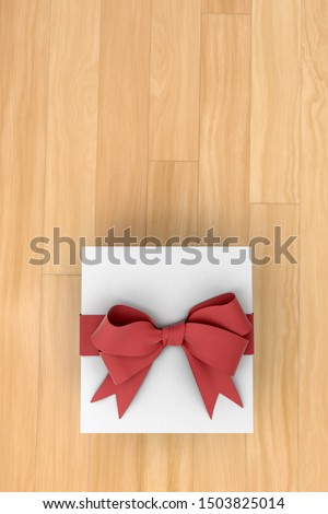 White new year or Christmas gift box with red ribbon for celebration concept on wooden board. with empty space for text and design, 3d illustration with clipping mask.