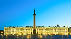 White nights in St.-Petersburg, Russia. Winter Palace of Russian tsars (Hermitage Museum) and Alexander Column on the Palace Square