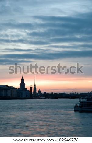 White nights of St.Petersburg, Russia. White night, a night of the midnight sun on which it never gets completely dark
