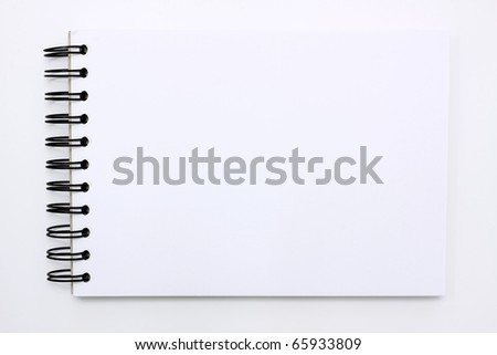 white note book isolated on white background