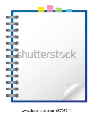 White note pad with spiral