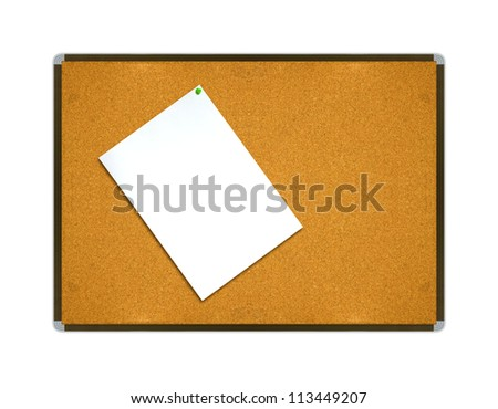 White note paper on board background