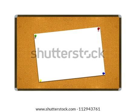 White note paper on borad background