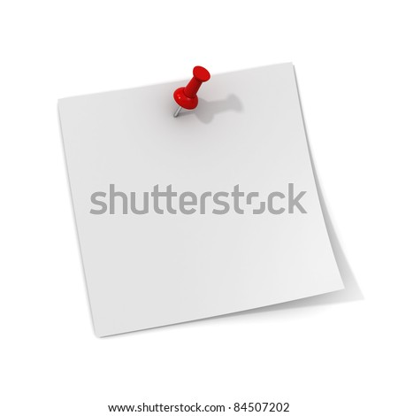 White note paper with red push pin isolated on white background with shadow