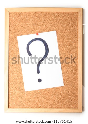 White note with question mark on cork board