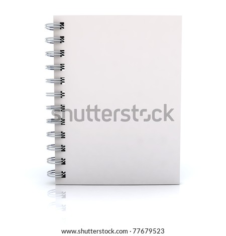 White notebook. 3D rendered Illustration. Isolated on white.