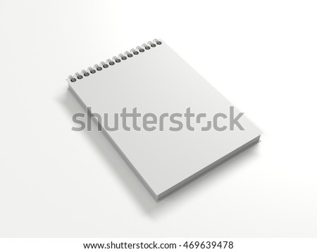 White Notebook mock up with clean blank for design and advertising. Notepad with chromed spring and free copy space template. On the white light background. 3d illustration perspective view