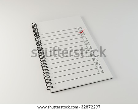 white notebook page - 3d rendered image