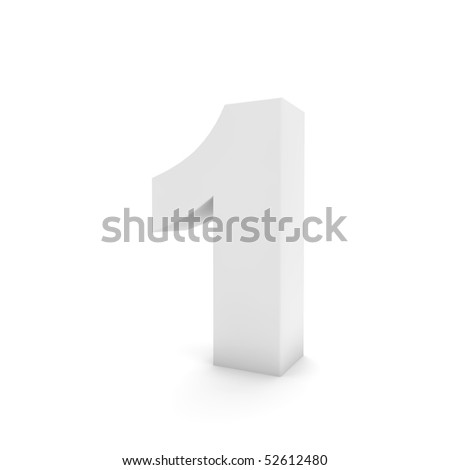 white number 1 isolated on white
