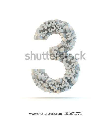 White number 3 isolated on white. Part of high resolution graphical number set.