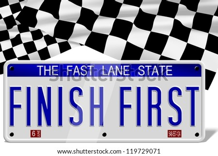 White number plates spelling finish first and a finish flag in the background / Finish first number plates