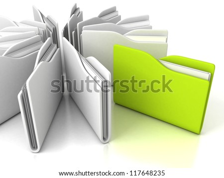 white office folders with green one on white background