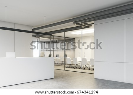 White office interior with a reception desk standing near a loft window in an office lobby with glass walls and a meeting room. Corner. 3d rendering mock up