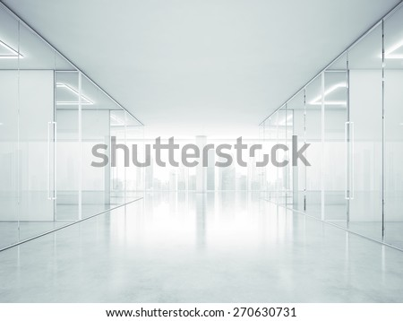White office interior with panoramic windows. 3D rendering