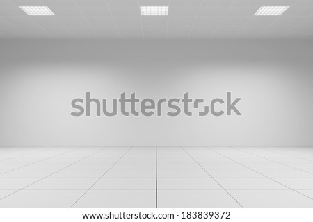 White office room with tiled ceiling with neon lamps