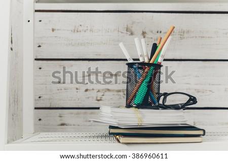 White office shelves  #386960611