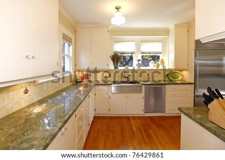 White old amazing kitchen. Luxury old home in Tacoma, WA.