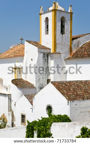 white old houses in Algarve, Portugal
