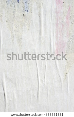 White old paper ripped torn background blank creased crumpled posters grunge textures placard surface backdrop #688331851