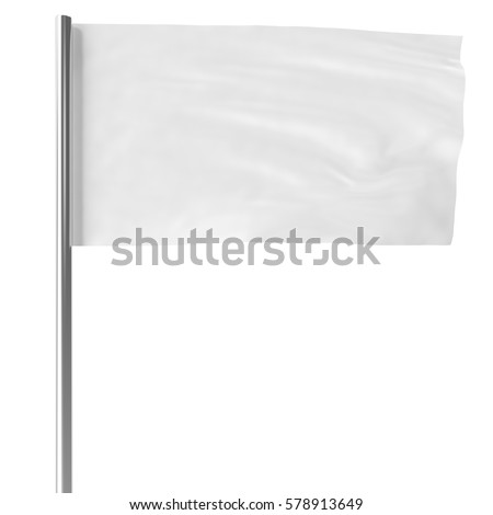 White on flagpole flying in the wind empty mock-up flag isolated, 3d rendering