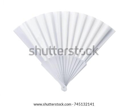 White open blank plastic fan isolated on white  #745132141