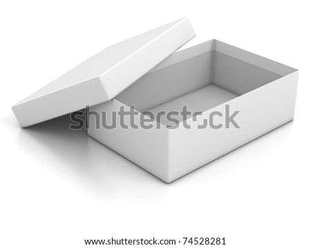white open empty box isolated over white background 3d illustration