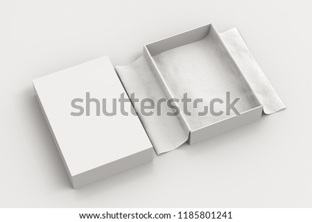 White open gift box mockup on white background with unfolded white wrapping paper. Box is rectangular and flat, cover of the box lies next. 3d illustration