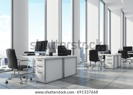 White open office environment with narrow tall windows, white computer tables and black office chairs. A wooden floor, corner, close up. 3d rendering mock up