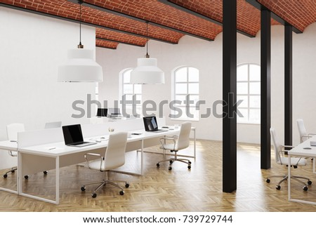 White open space office interior with a concrete floor, a brick wavy ceiling and long computer tables with white chairs near them. Side view 3d rendering