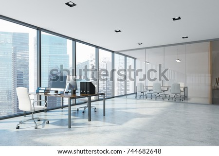 White open space office interior with an aquarium like conference room, wooden columns and a computer desk. Corner 3d rendering mock up