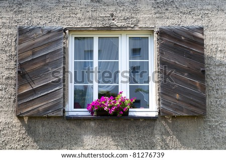 white, open window and pink flowers