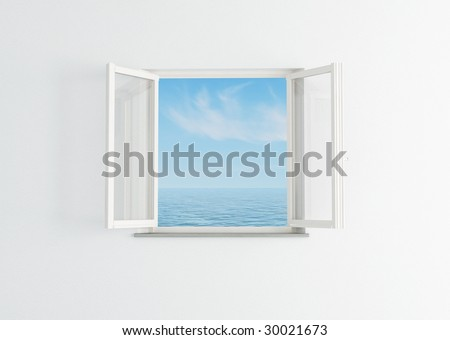 white open window to the blue sky and sea- rendering - stock photo