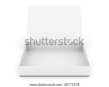 white opened cardboard box isolated on white background