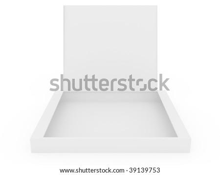 white opened cardboard box isolated on white background