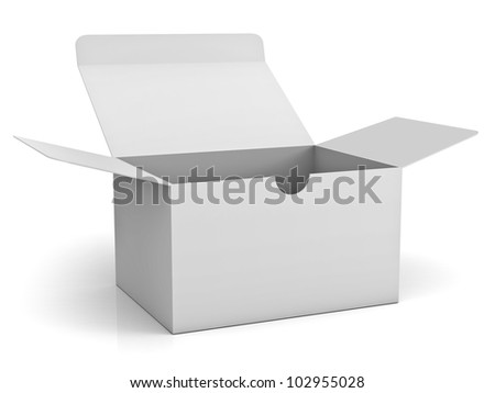 White opened cardboard box isolated on white background with reflection - stock photo