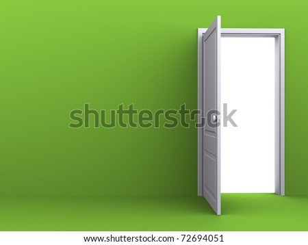 White opened door in the green wall