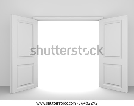 White opened double door - stock photo