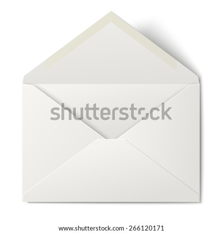 White opened envelope isolated on white