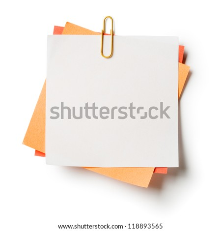 White, orange and red note papers with paperclip on white background