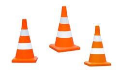 White-orange cones on the road. Isolate on white background