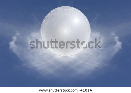 White orb and clouds.