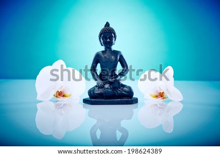White orchis and buddah Wellness and Spa Image, works perfect for advertising Health and Beauty, Spirituality or Massage.