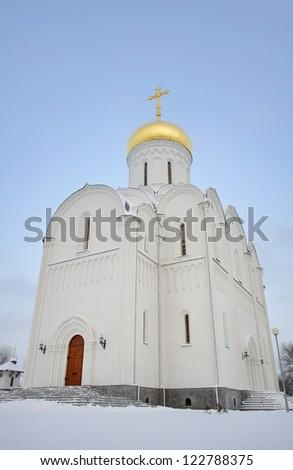 white orthodox church in winter