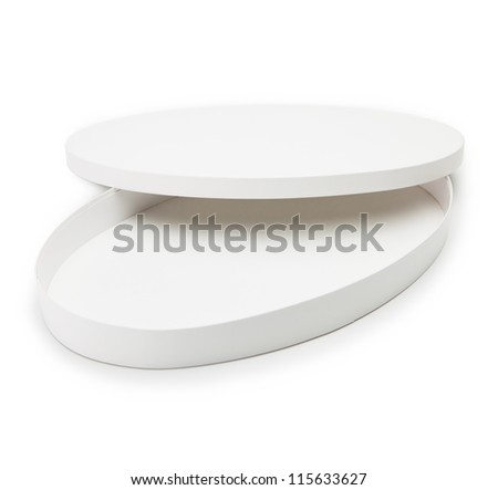 White oval gift box with lid open, isolated on white.